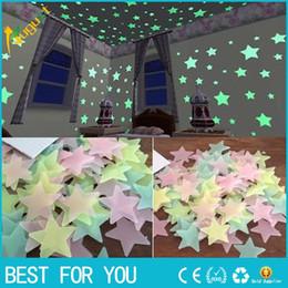 100 unids / set 3D Star Glow In The Dark Luminoso Pegatinas de Pared de Techo para Niños Bebé Dormitorio DIY Partido Decoración de Navidad