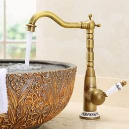 Antique Copper Bathroom Basin Faucet Hot And Cold Heightening Counter Basin  Faucet Ceramic Handles Retro Copper Faucet Lightning Delivery