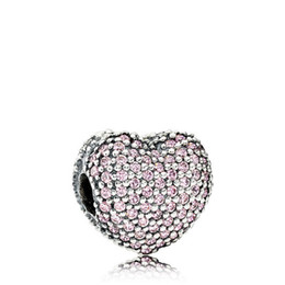 Chinese  2017 New S925 Sterling Silver Open My Heart ClipCharm Bead with Pink Cz Fits European Pandora Style Jewelry Bracelets & Necklace manufacturers