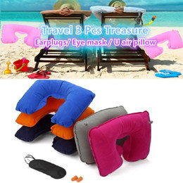 neck air cushion 2021 - Wholesale- factory price 3in1 Travel Office Set Inflatable U Shaped Neck Pillow Air Cushion + Sleeping Eye Mask Eyeshade + Earplugs 1953