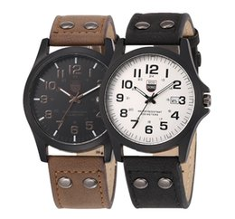 China New mens retro vintage leather watch fashion men calendar date big dial army quartz wrist watch business 2017 wholesale watches supplier retro dates suppliers
