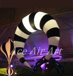 $enCountryForm.capitalKeyWord Canada - 1.5 meter diameter beautiful ceiling hanging black and white strip led Inflatable crescent for stage decorations in the USA