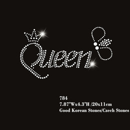 30pcs lot High Quality Queen With Crown Design Hotfix Rhinestone Iron On Transfers  Letters 4f0ef633a90c