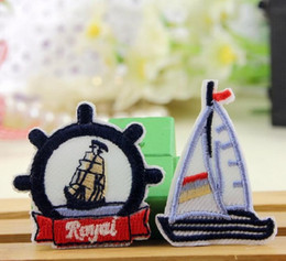 Wholesale Iron On Patches DIY Embroidered Patch sticker For Clothing clothes Fabric Badges Sewing boat anchor design