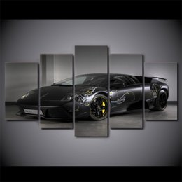 Discount free car posters - 5 Piece Canvas Art Black Luxury Car HD Printed Wall Art Home Decor Canvas Painting Picture Poster Prints Free Shipping N