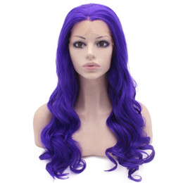 Long Wave Costumes Hair UK - Long Wavy Hand Tied Lace Front Synthetic Hair Violet Purple Costume Party Wig