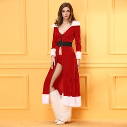 wholesale girls christmas dress NZ - New Free Shipping Sexy Girls Kawaii Bow Cosplay Fancy Dress Santa Costume Set New Year Red Woman Merry Christmas Costumes