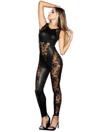 $enCountryForm.capitalKeyWord Canada - Sexy Black Lace Jumpsuit Women Backless Stretchy Catsuit Patchwork Romper See-through Bodysuit Nightclub Pole Dancing Costume