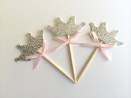 Wedding toothpicks online shopping - SILVER Glitter TIARA Cupcake Toppers with Pink Bow girl Birthday wedding toothpicks Bridal baby shower party decor24pcs