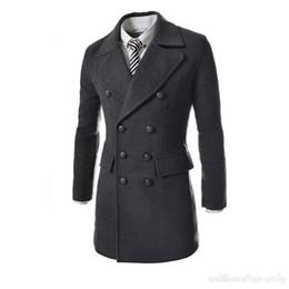 $enCountryForm.capitalKeyWord Canada - Wholesale- Men Slim Wool Blend Peacoat Autumn Winter Warm Double Breasted Jacket Cashmere Down Coat Male Classic Black Long Overcoat