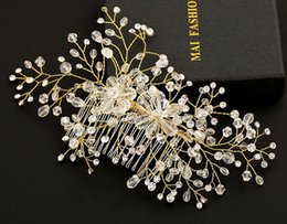 $enCountryForm.capitalKeyWord Canada - Gorgeous Bridal Hair Comb Handmade Gold Tone Rhinestone Crystal Wedding Bridal Hair Accessories Bridal Head Pieces