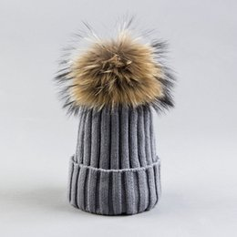 grey bobble hat Australia - Woman Beanies with Real Fur Pompom Hat Winter Bobble Hat With Fur Pompom Fashion Knit Beanies with Fox Fur Pompom Cap Hat