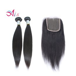 Dhl hair peruvian straight online shopping - Brazilian Hair A Straight Human Hair Weft Bundles With a lace Closure b Remy Hair Weaves Extensions DHL