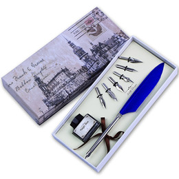 China Wholesale- Feather Quill Pen set Calligraphy Writing Pen Mini Dip Pen cheap calligraphy fountain suppliers