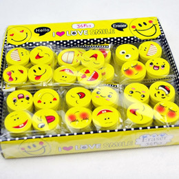emoji stationery NZ - Emoji Eraser Cartoon Smile Face Soft Rubber Durable Erasers For Pencil Wipe Clean Student Stationery Prize Gift 0 08mc F R