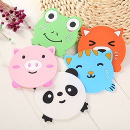 Dessins Animés Pour Enfants Livraison Gratuite Pas Cher-Cute Cartoon Animal Silicone Table Cup Mat Drink Coaster Placemat Support de café Pad For Kids Livraison gratuite ZA4133