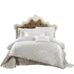 China Wholesale-Papa&Mima Jacquard bedding set silk cotton Queen King size 4pcs duvet quilt bedlinen covers bedclothes luxury bedsheet set supplier silk bedding set twin suppliers