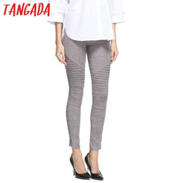 $enCountryForm.capitalKeyWord Canada - Wholesale- KM5 New Fashion 2016 Women Faux Suede Leggings Pleated Elastic Waist Trouser Pants Cozy Casual Warm Brand Fitness Feminina