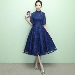 $enCountryForm.capitalKeyWord UK - High Neck Speaker Sleeves Navy Blue Prom Dresses 2019 Tea-Length Vintage Lace Dress for Graduation vestido de festa curto