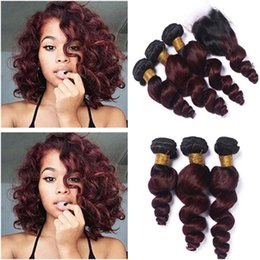 front lace closure ombre weaves Canada - Peruvian Wine Red Ombre Hair Weaves With Lace Closure Two Tone 1B 99J Burgundy Ombre 4x4 Front Lace Closure With Loose Wave 3Bundles
