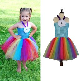 Barato Trajes Baratos Do Bebê-2017 New Baby Girls Fluffy Rainbow Tutu Dress Vestidos de verão Colorful Cheap Girl Dress Hot Cartoon Costume Girls Birthday Gift