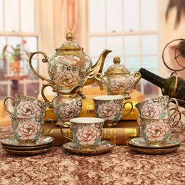 Discount teapot - European Fashion ceramic cup teapot set home living room tv cabinet butterfly flowers pattern luxury decoration crafts F