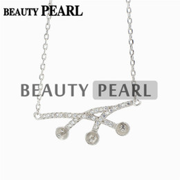 $enCountryForm.capitalKeyWord Canada - Necklace Blank for Pearls Zircon Mounting 925 Sterling Silver Chain Base with 3 Blanks 5 Pieces