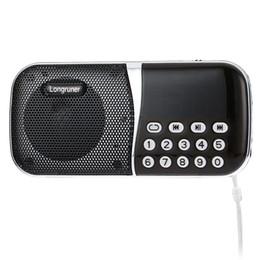Internet Radio Speakers NZ - Wholesale-Original Speaker LONGRUNER L - 23 Pocket Size FM Radio Speaker Portable Audio Player With TF Card Slot Supports Volume Control