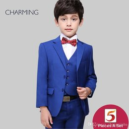 Three Piece Suit Bow Australia - Boys tuxedos Three piece suit Free shirts and bow ties Blue high quality Boys blue suit Childerns suits Wedding suits for boys