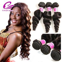 Colorful Human Hair Australia - Cheap Indian Curly Virgin Hair Loose Wave Wet Wavy Human Hair 3 Bundles Colorful Queen Natural Indian Loose Wave Hair Deals 300g Lot
