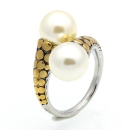 Vintage pearl ring gold online shopping - 2017 Spring New Arrival Hot High Quality Stainless Steel Vintage Fashion Double Pearl Ring Gold Color For Women Party Jewelry