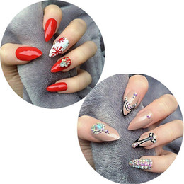 $enCountryForm.capitalKeyWord Canada - 600pcs box Clear Oval Stiletto Pointy Full Artificial False Fake Nail Art Tips Almond Shape Acrylic Gel Claw Full Cover Salon