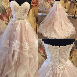 Chinese  Tiered Skirt Wedding Dresses 2017 with Sweetheart Neckline and Long Train Real Pictures Appliques Blush Tulle Ball Gown Bridal Gowns manufacturers