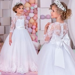 Discount little girl short wedding dresses - Princess Little White Flower Girl Dresses Jewel Neck 3 4 Sleeves Buttons Back with Big Bow Sash Appliques Tulle Kids For