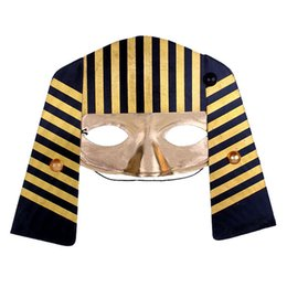 half face gold party masks UK - New Half-face Gold Color Plastic Egypt Pharaoh Mask Fancy Party Costume Masks Halloween Cosplay Free Shipping ZA3839