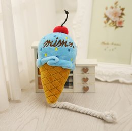 Ice cream plush toy online shopping - Pet Toys Exquisite Ice Cream High quality Make a sound Plush Squeak Toy For Dog Cat Pink Blue gg F R