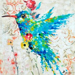 Discount colourful art paintings Humming Bird,Pure Hand Painted Modern Wall Decor Pop Colourful Animal Art Oil Painting High Quality Canvas.Multi customi
