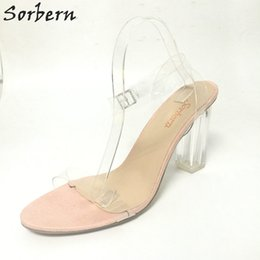 Plus Size Bridal Wedding Shoes Buckle Strap Square Heels PVC Ladies Party  Sandals Women Custom Made Color Bridal Accessories