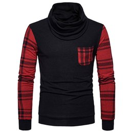 Barato Jaqueta De Gola-Men's Long-sleeved Heap Pile Collar Sweater Homens s Brand Plaid Cotton Sweaters High Quality Moda Casacos Outwear Man Coats with Pockets