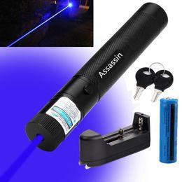 301 Мощный синий фиолетовый лазерный указатель Pen 405nm Beam Light Blue Violet Laser + 18650 Аккумулятор + зарядное устройство на Распродаже