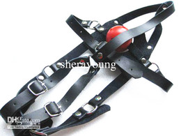 Barato Cabelos Para Mulheres-Female Slave Bitch Cabeça Harness Mouth Mordida Ball Gags Máscara Stopper BDSM Bondage Gear Adulto Sexo Brinquedos para as Mulheres Real Leather Belts XLY670