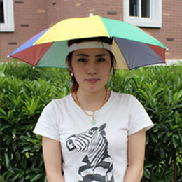 Sunny Hats Australia - Sunny Umbrella Cap Head Hats Fishing Headwear Sun Hiking Beach Camping Sunshade Rainy Umbrella Hat Rain Portable Folding Working