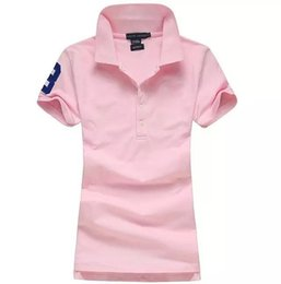 Chemises Femme Amincissante Pas Cher-Femmes Polo Style Summer Fashion Femmes grand Cheval Broderie Revers Polos Coton Slim Fit Polos Haut Casual Marques chemises