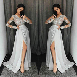 grey african lace 2019 - Charming Long Sleeve Grey Long Prom Dresses 2018 Lace Split Chiffon Illusion African Cheap Party Formal Evening Dresses