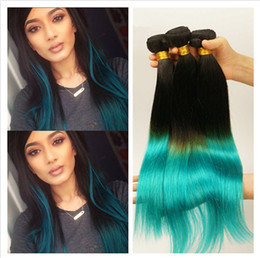 2tone Hair Canada - Virgin Malaysian Silky Straight Ombre Human Hair Wefts Extension #1B Teal Dark Root 2Tone 3Bundles Malaysian Ombre Human Hair Weaves