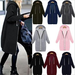 Top Oversized Des Femmes Pas Cher-Femmes Zipper Open Hoodie Sweat Long Manteau Veste Top Outwear Hiver Chaud Surdimensionné Jumper 8 Couleurs OOA3271