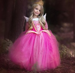 Discount princess aurora cosplay - New Spring Autumn Europe Fashion Girls Dress Sleeping Beauty Aurora Princess Dress Kids Princess Children Cosplay Dress