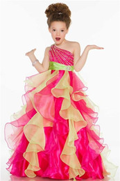 $enCountryForm.capitalKeyWord UK - One Shoulder Beaded Ruffled Organza Flower Girls Pageant Dresses Sweety Pink and Yellow Floor Length Princess Gowns