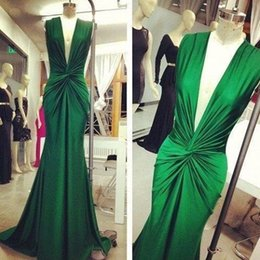 Models Photos Back Canada - Elegant Deep V Neck Formal Evening Dresses Hunter Green Pleats Ruched Mermaid 2017 Real Photos Prom Party Gowns Custom Made Plus Size Cheap