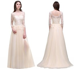 champagne elegant 3 4 long sleeves prom dresses sheer neck lace appliqued high slit evening gowns tulle chiffon party wear cheap cps496